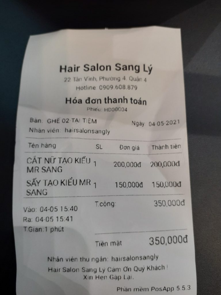 hóa đơn salon