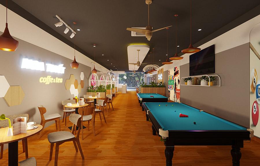 Mẫu quán bida kết hợp quán cafe phong cách trẻ trung, năng động
